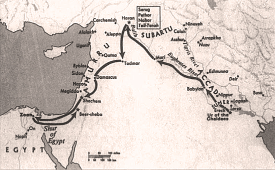 Map of Abraham's Migration Route