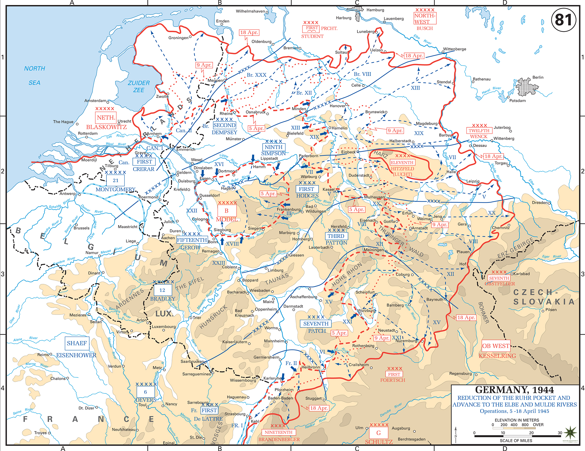 Map of World War II: Germany. Reduction of the Ruhr Pocket and Advance to the Elbe and Mulde Rivers. Operations April 5-18, 1945