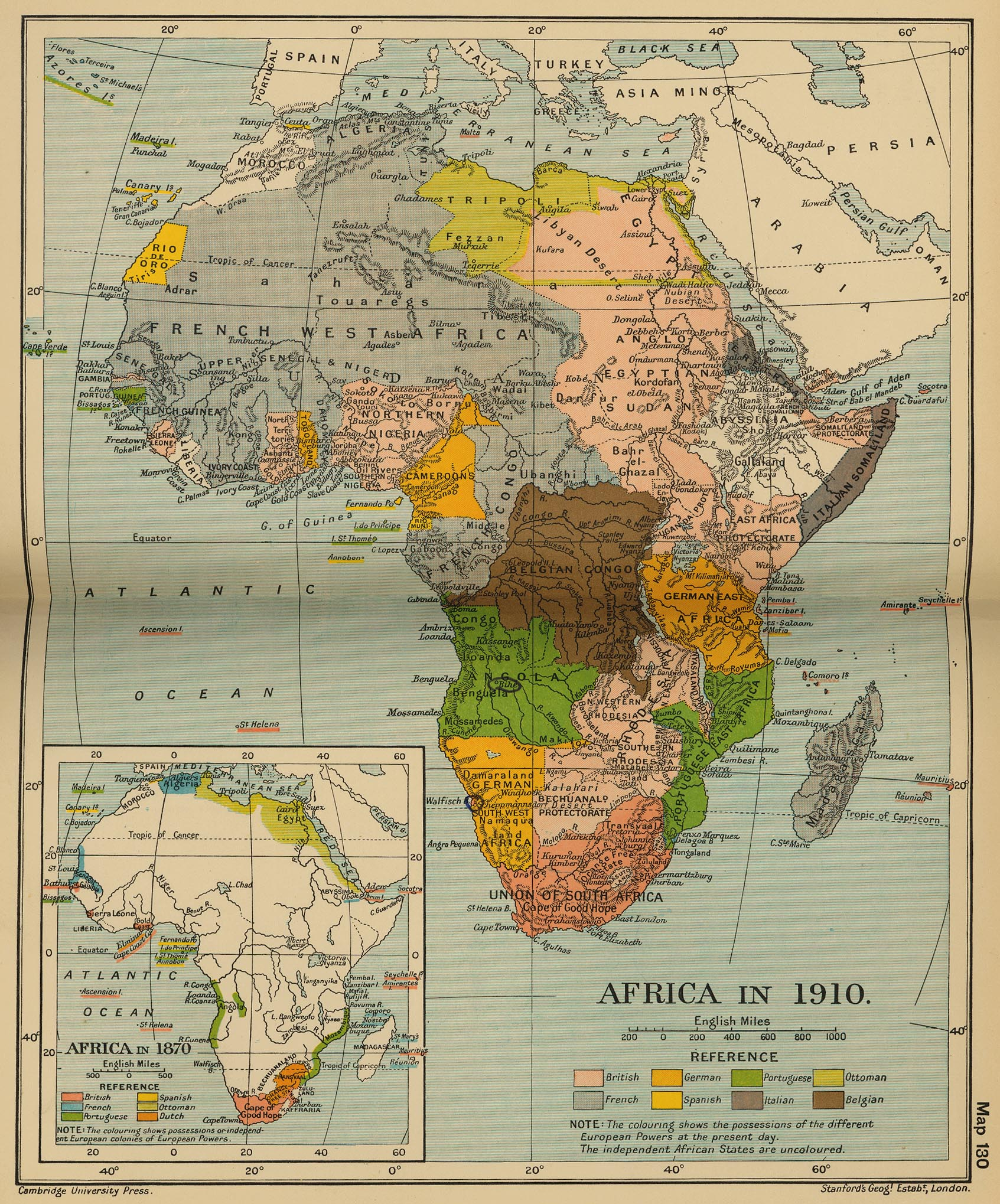 Historical map of Africa in 1910. Inset: Africa in 1870.