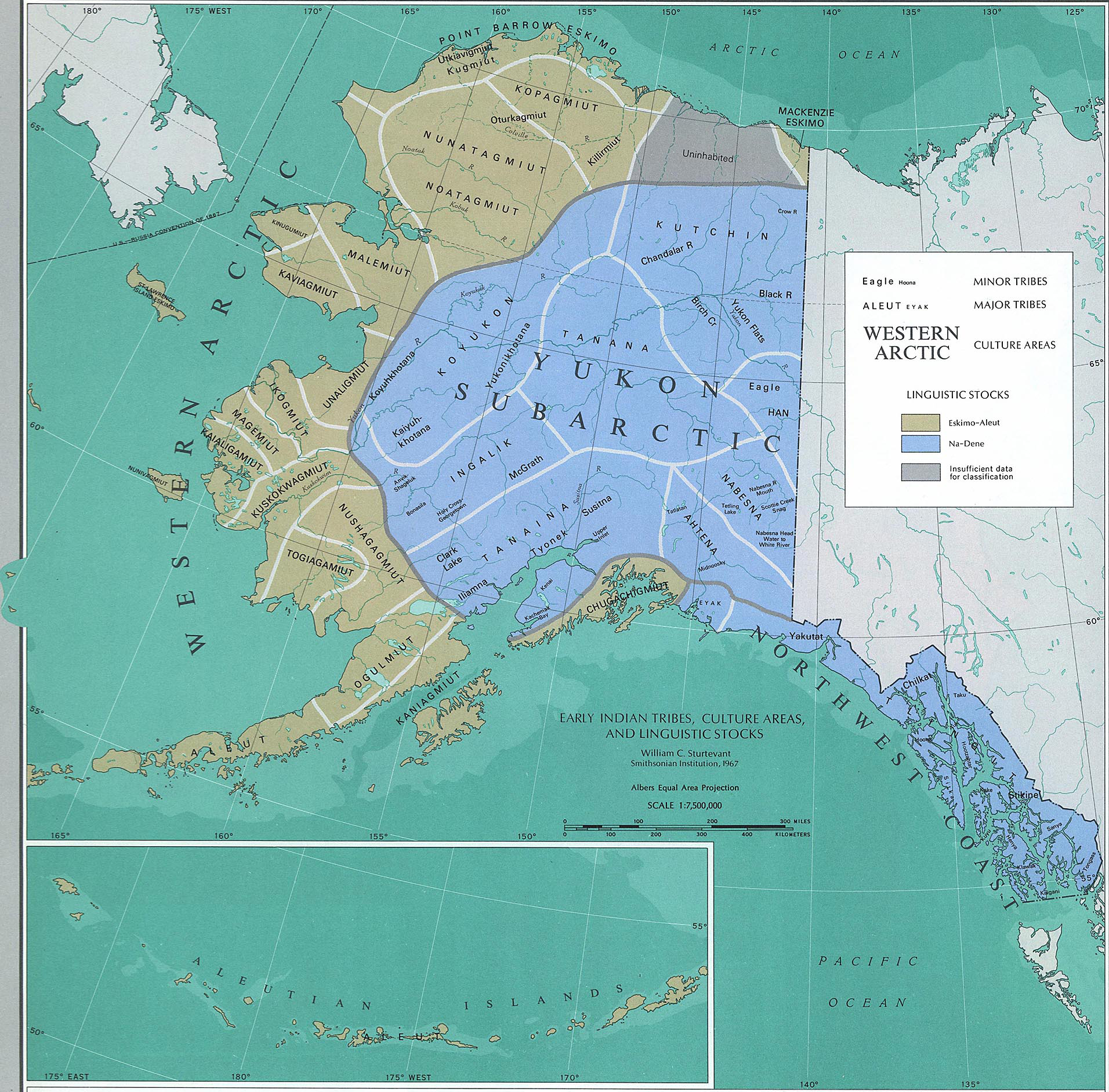 Map of Alaska - Early Indian Tribes, Culture Areas, and Linguistic Stocks