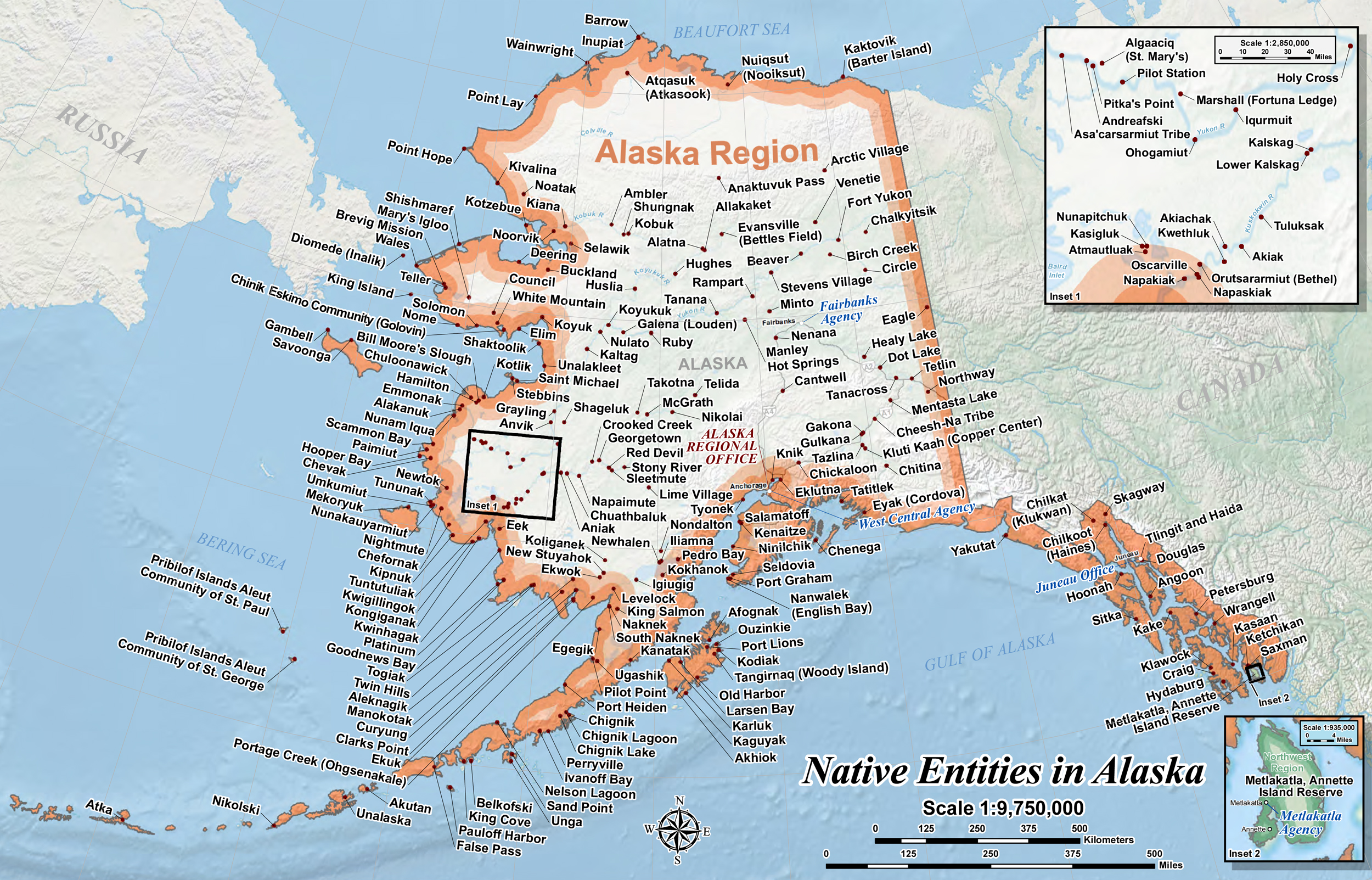 Map of Native Entities in Alaska / Villages