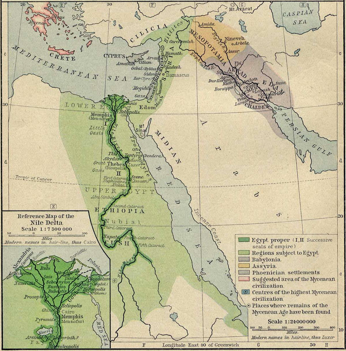Map of Ancient Egypt, Ancient Syria, and Ancient Mesopotamia about 1450 B.C.