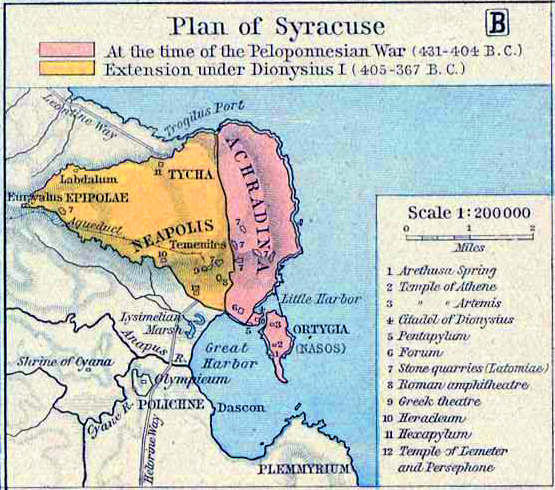 Map of Ancient Syracuse