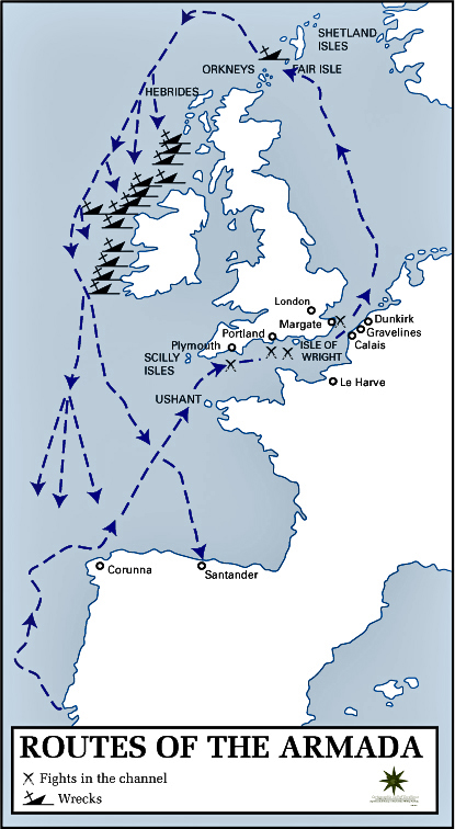 Map of the Routes of the Spanish Armada 1588
