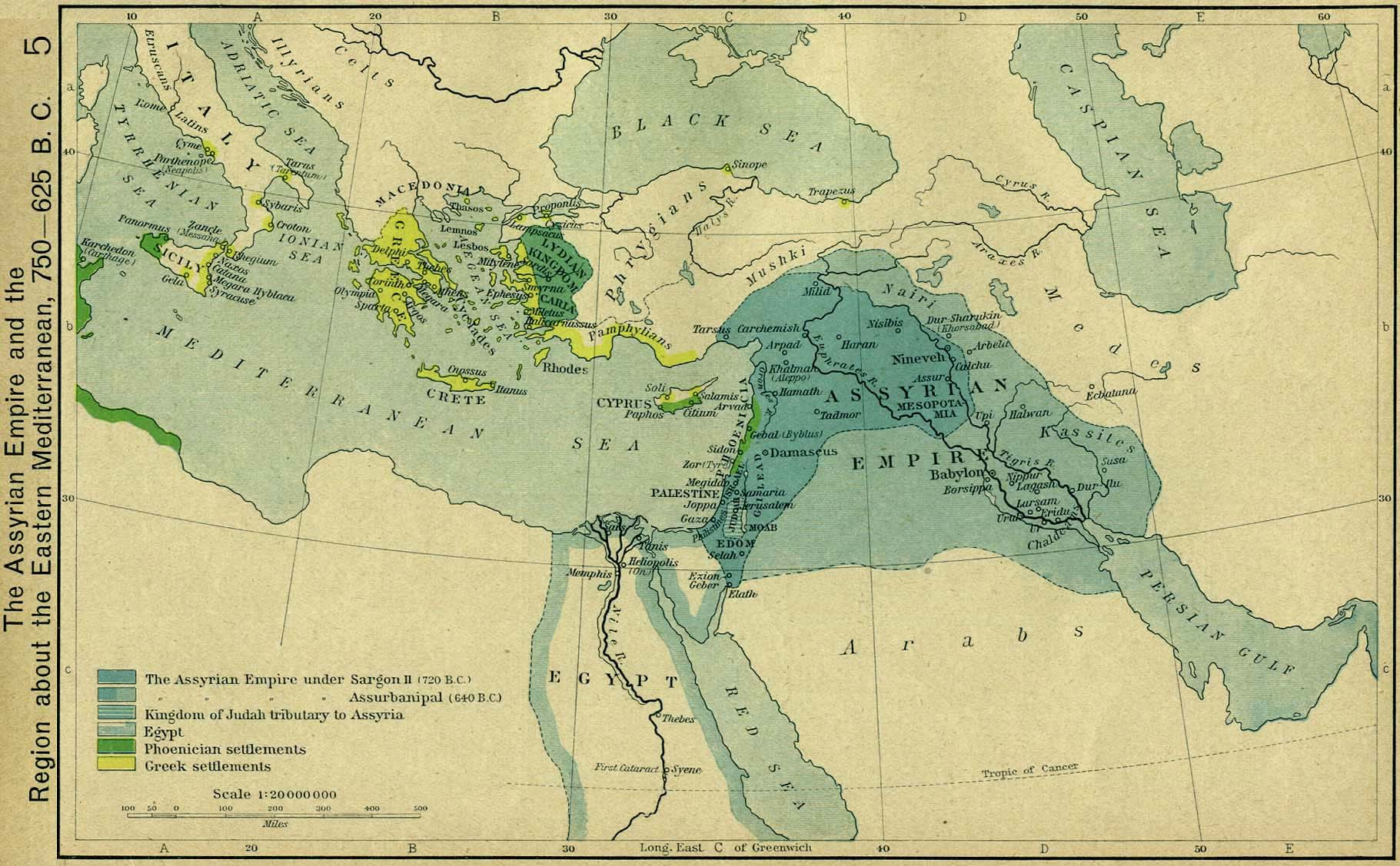 Map of the Assyrian Empire and the region about the Eastern Mediterranean, 750-625 B.C.