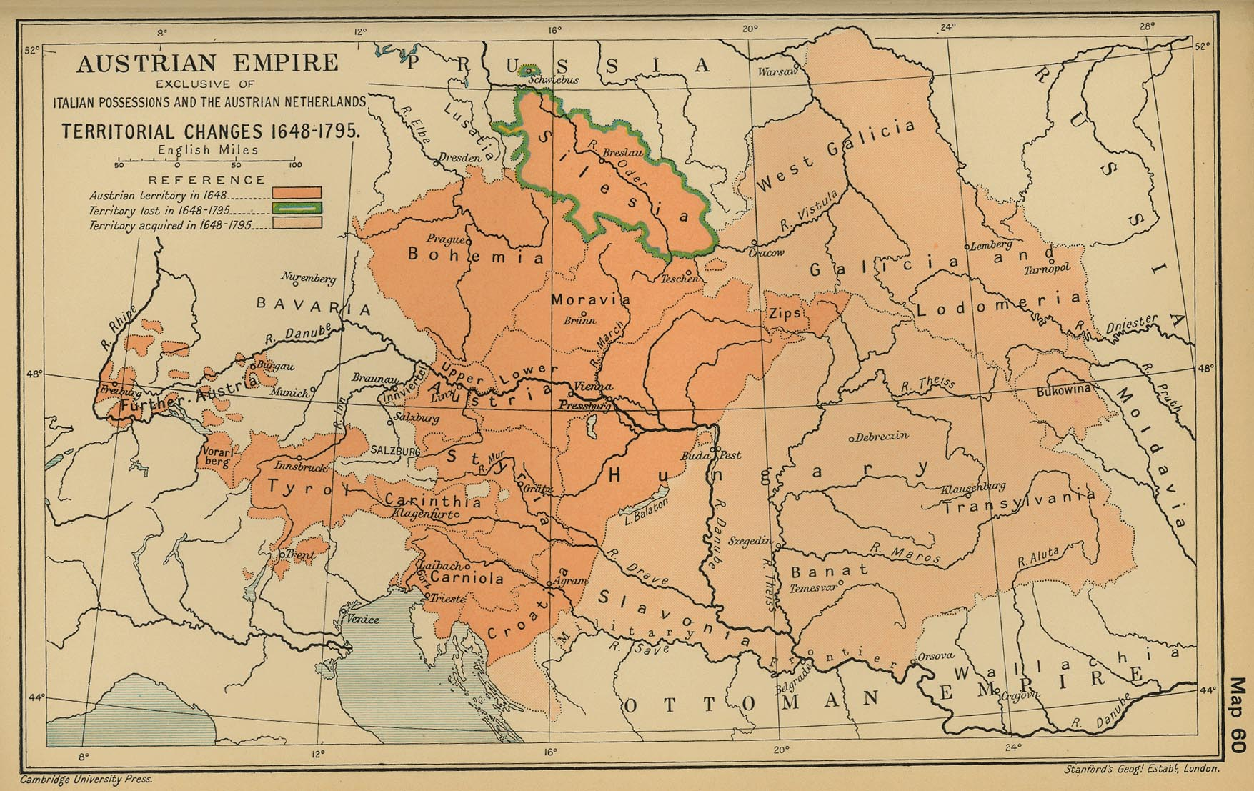 Map of the Austrian Empire 1648-1795