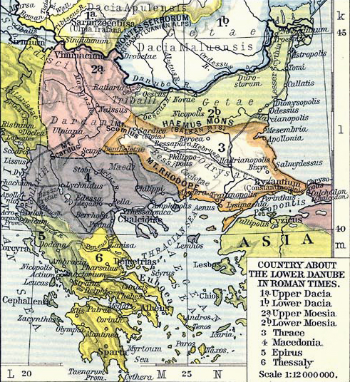 Map of Dacia, Moesia, Thrace, Macedonia, Epirus, Thessaly in Roman times