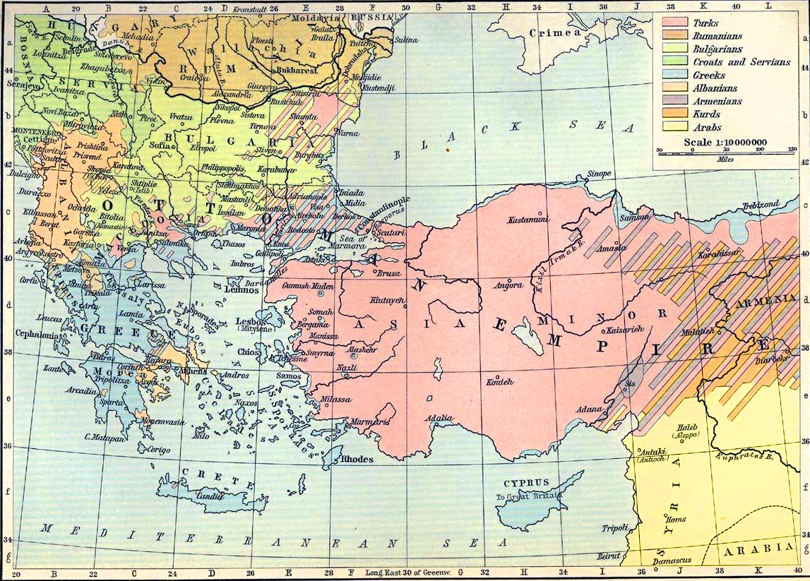 Map of the Balkan Peninsula and Asia Minor 1911 - Peoples