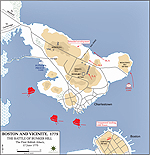 Map of the Battle of Bunker Hill - June 17, 1775 - First British Attack
