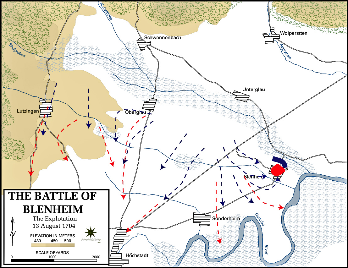Map of the Battle of Blenheim - August 13, 1704: Final Moves