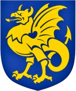 Bornholm coat of arms golden dragon on blue background