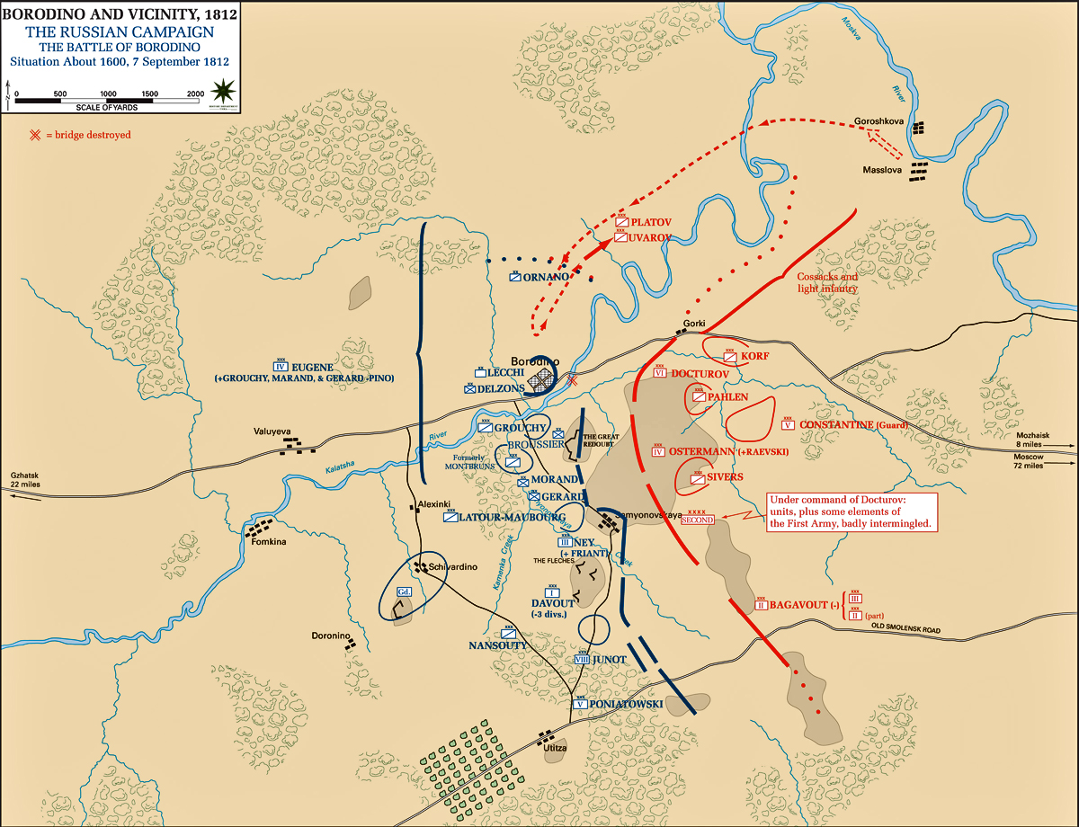 Map of the Battle of Borodino: 1600 Hours - September 7, 1812