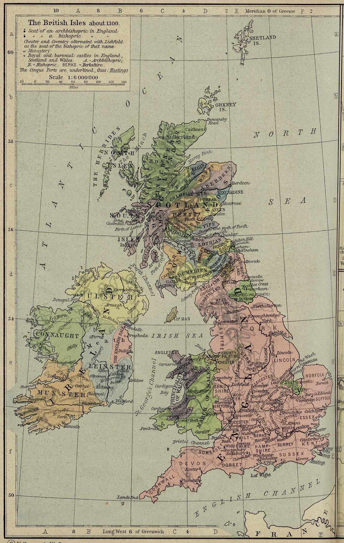 Map of the British Isles about 1300