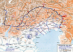 Map of the Battle of Caporetto - Oct 24-Nov 19, 1917