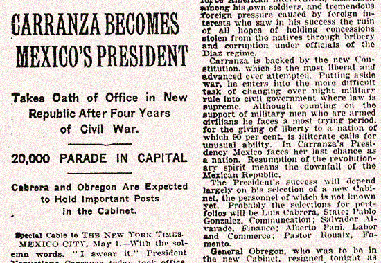 Carranza is the new Mexican President - Mexican History 1917
