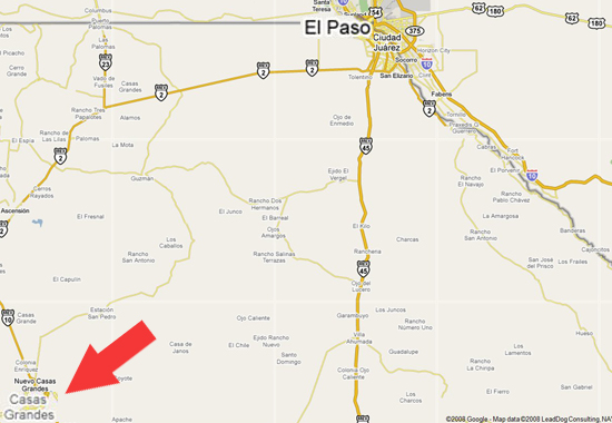 Location of Casas Grandes, Chihuahua, Mexico - Enhanced Google Map