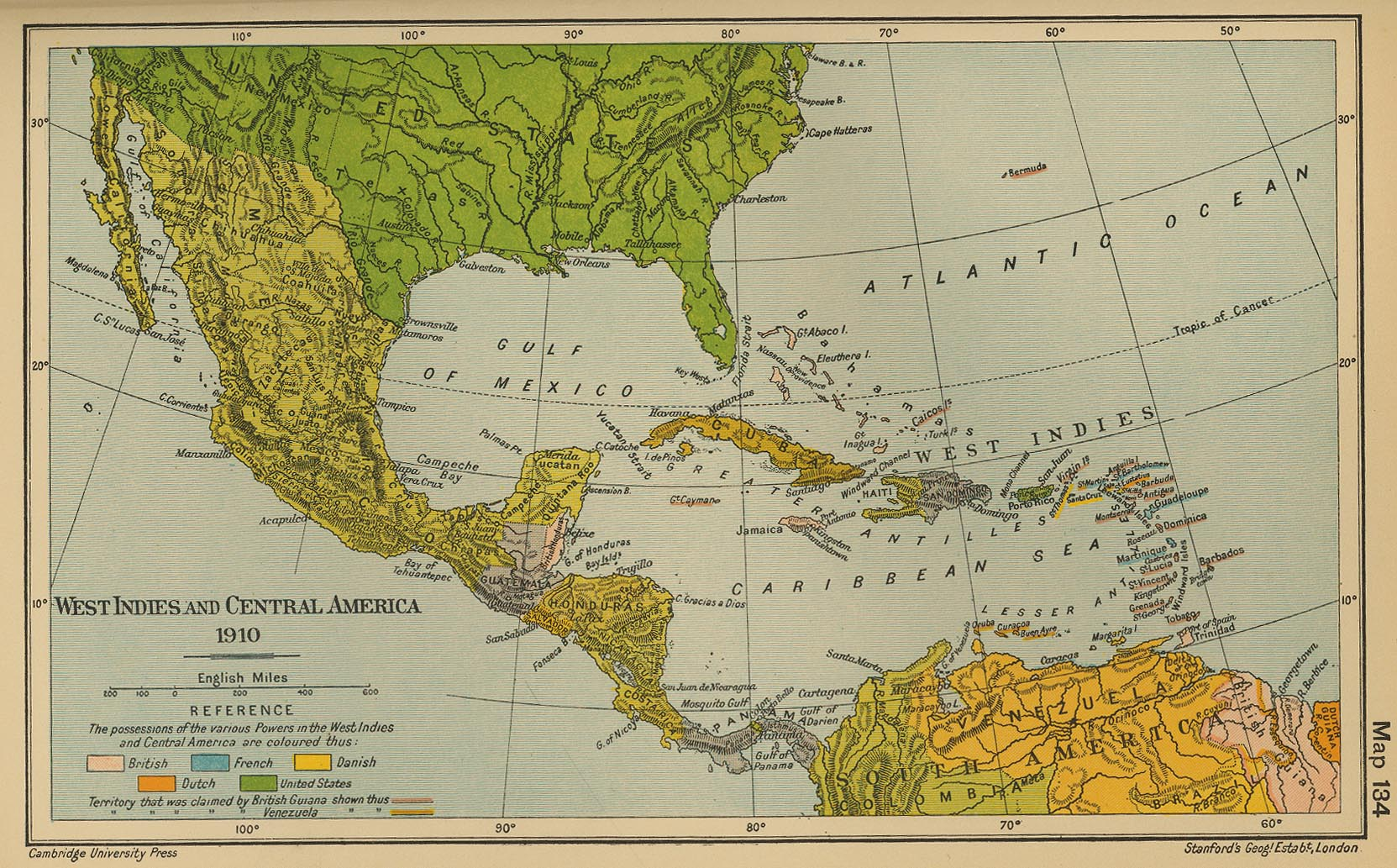 Map of the West Indies and Central America 1910