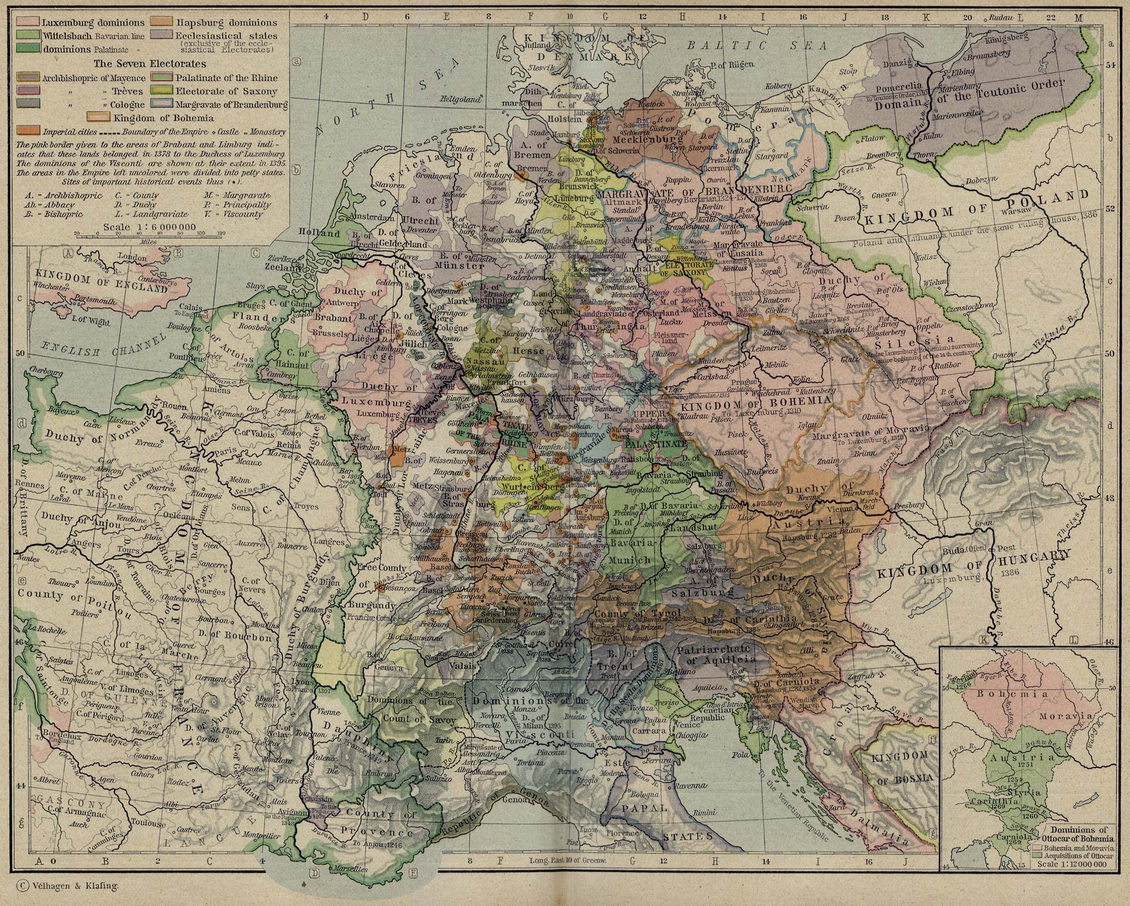 Map of Central Europe in 1378