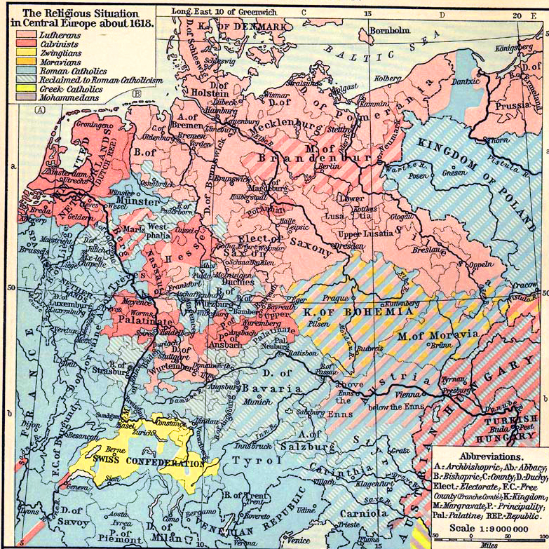 Map of the religious situation in Central Europe about 1618