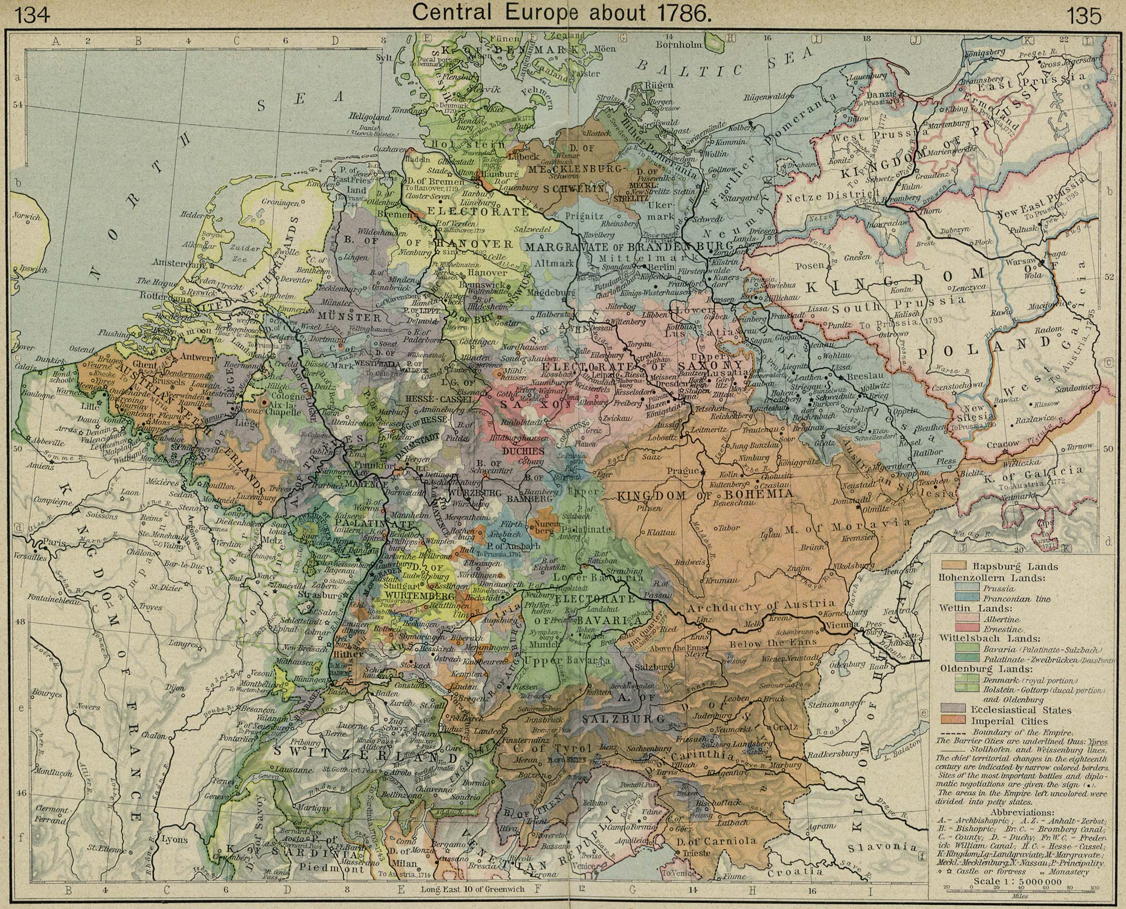 Map of Central Europe about 1786