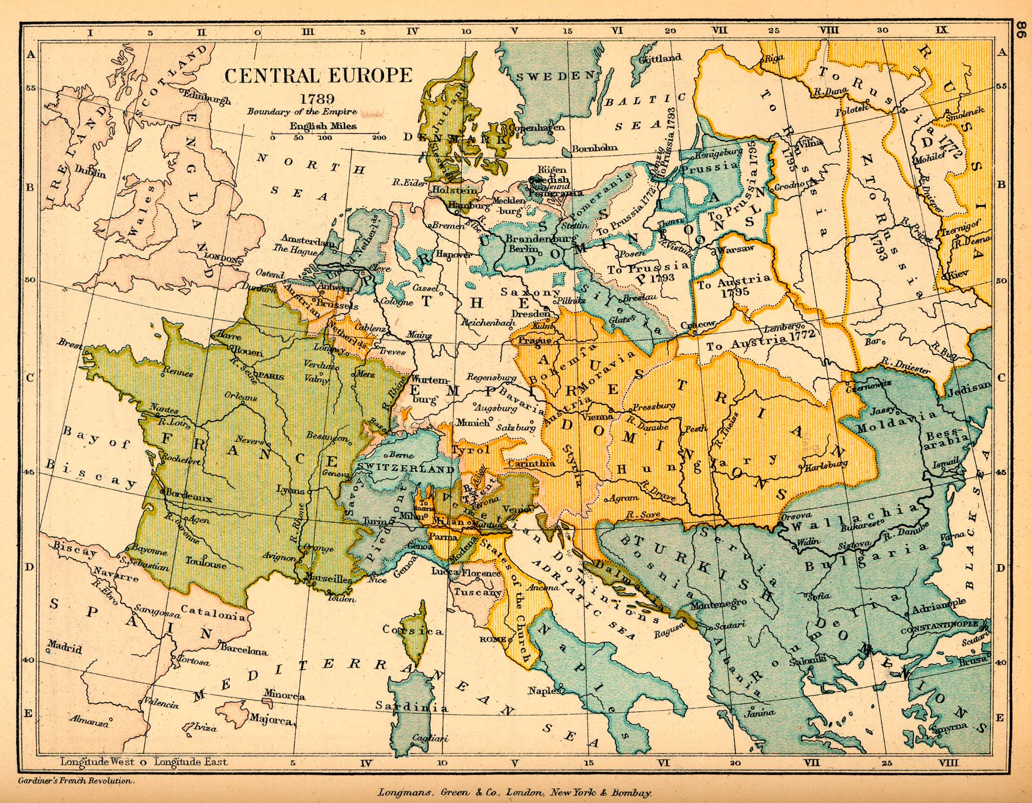 Map of Central Europe 1789