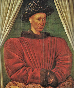 French King Charles VII, formerly the Dauphin Charles, around 1447