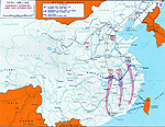 Map of China - Communist Offensives Apr-Oct 1949