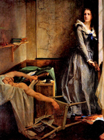 Assassination of Marat by Charlotte Corday — painting by Paul Baudry
