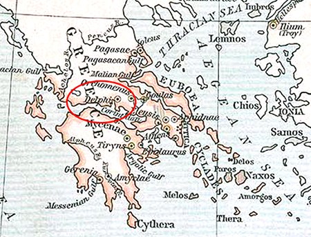 Map Location of Delphi, Ancient Greece