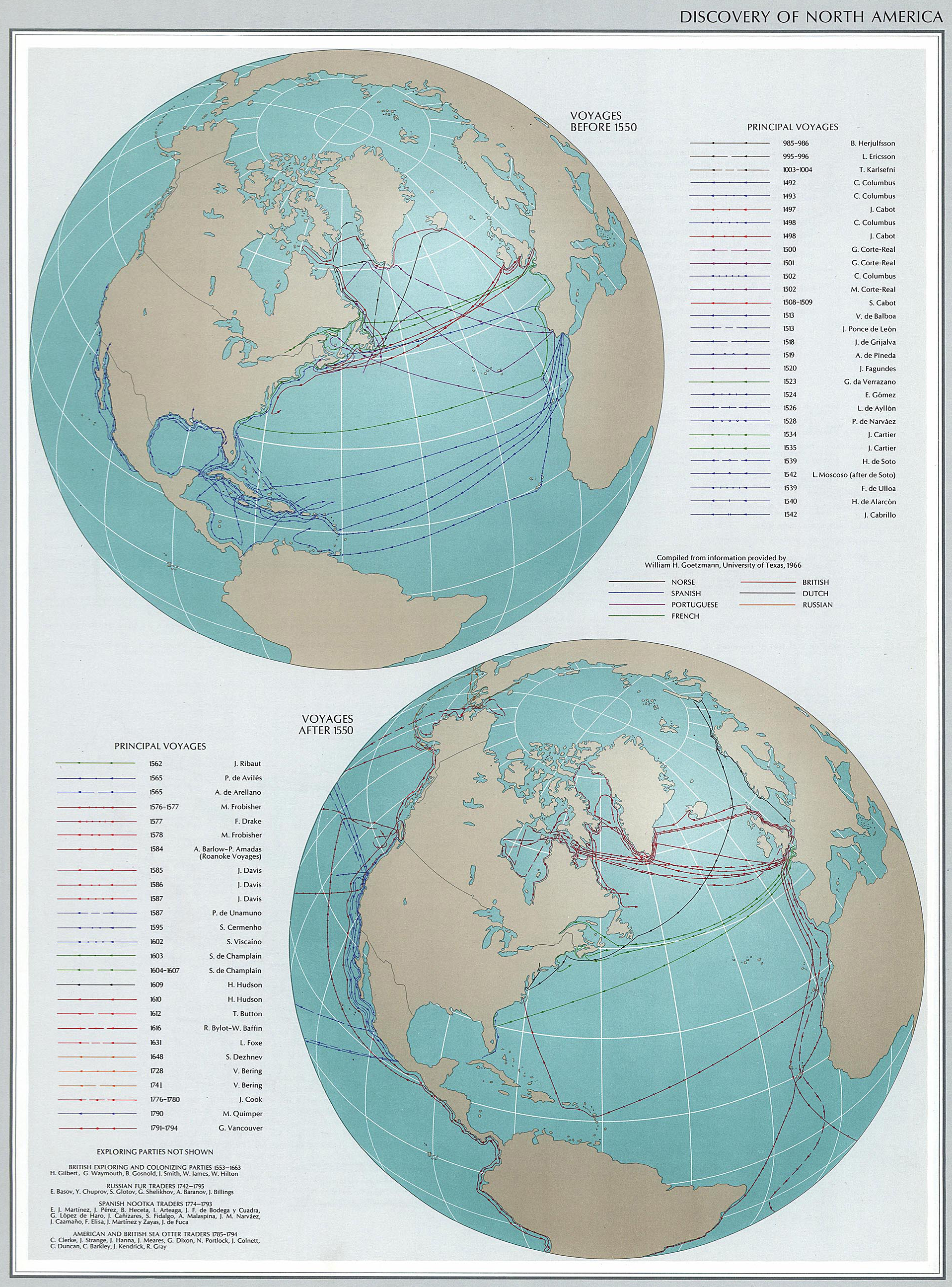Map of the Discovery of North America. Voyages before and after 1550