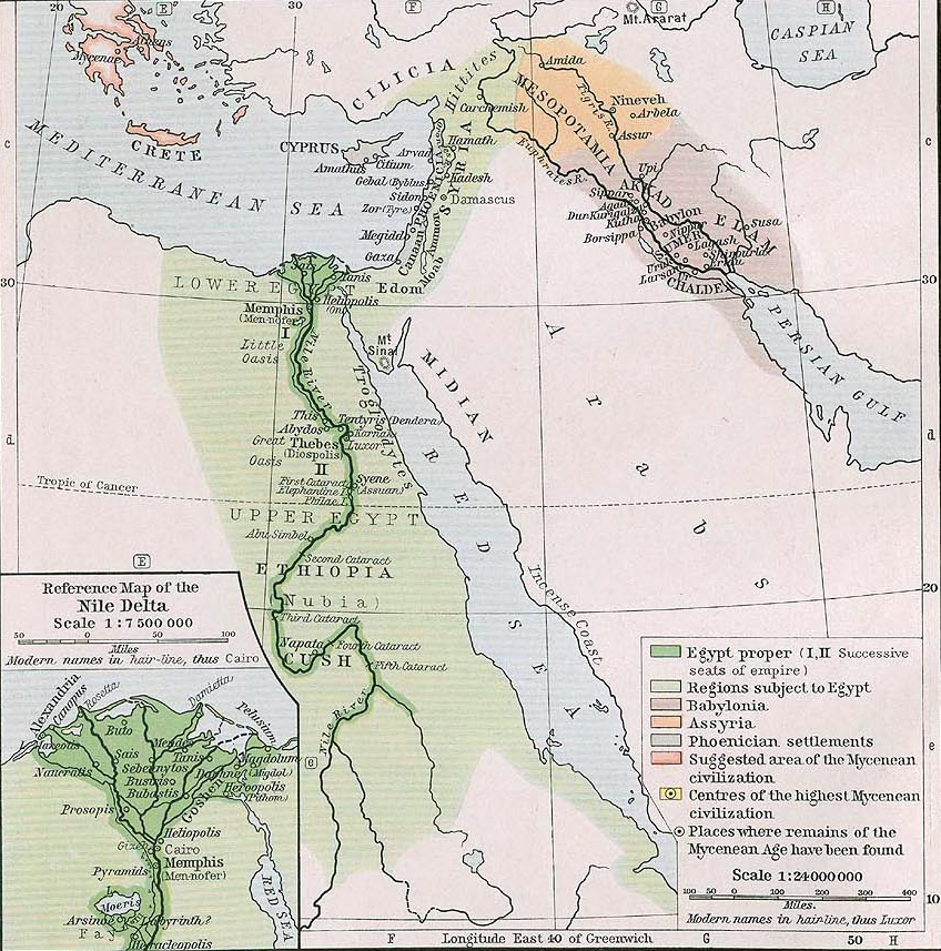 Map of Egypt, Syria, and Mesopotamia about 1450 B.C.