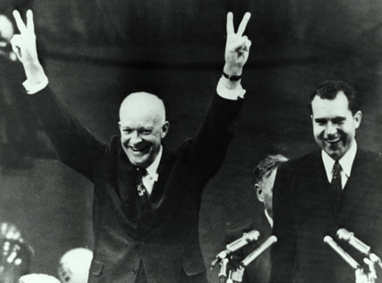 Dwight D. Eisenhower (left) and Richard M. Nixon after being renominated at the 1956 Republican National Convention in San Francisco