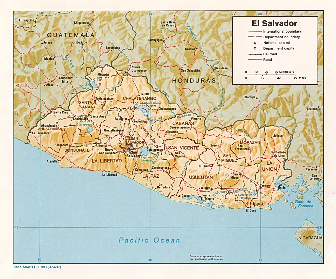 Map of El Salvador 1980