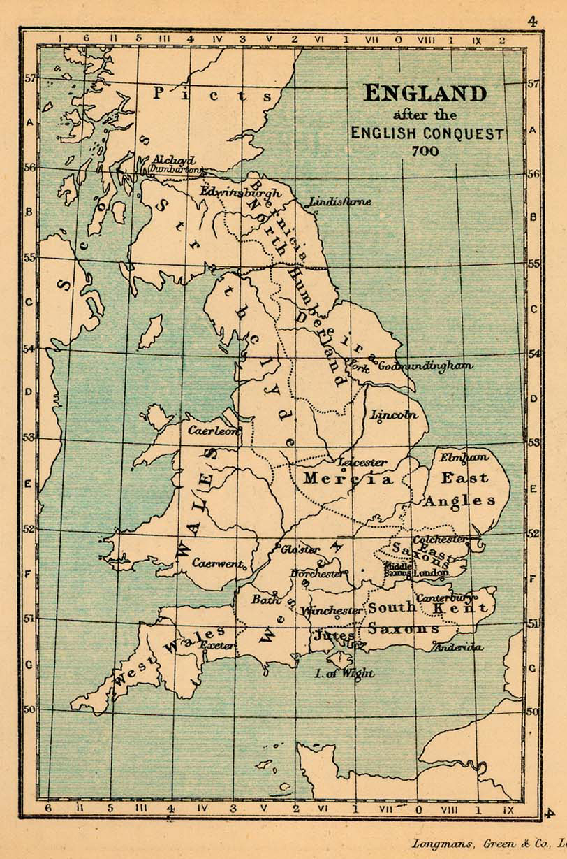 Map of England after the English Conquest in 700