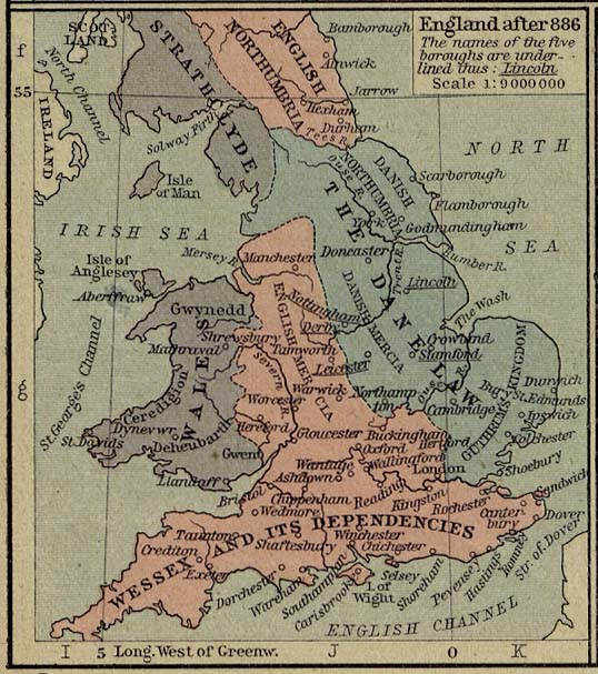 Map of England after 886
