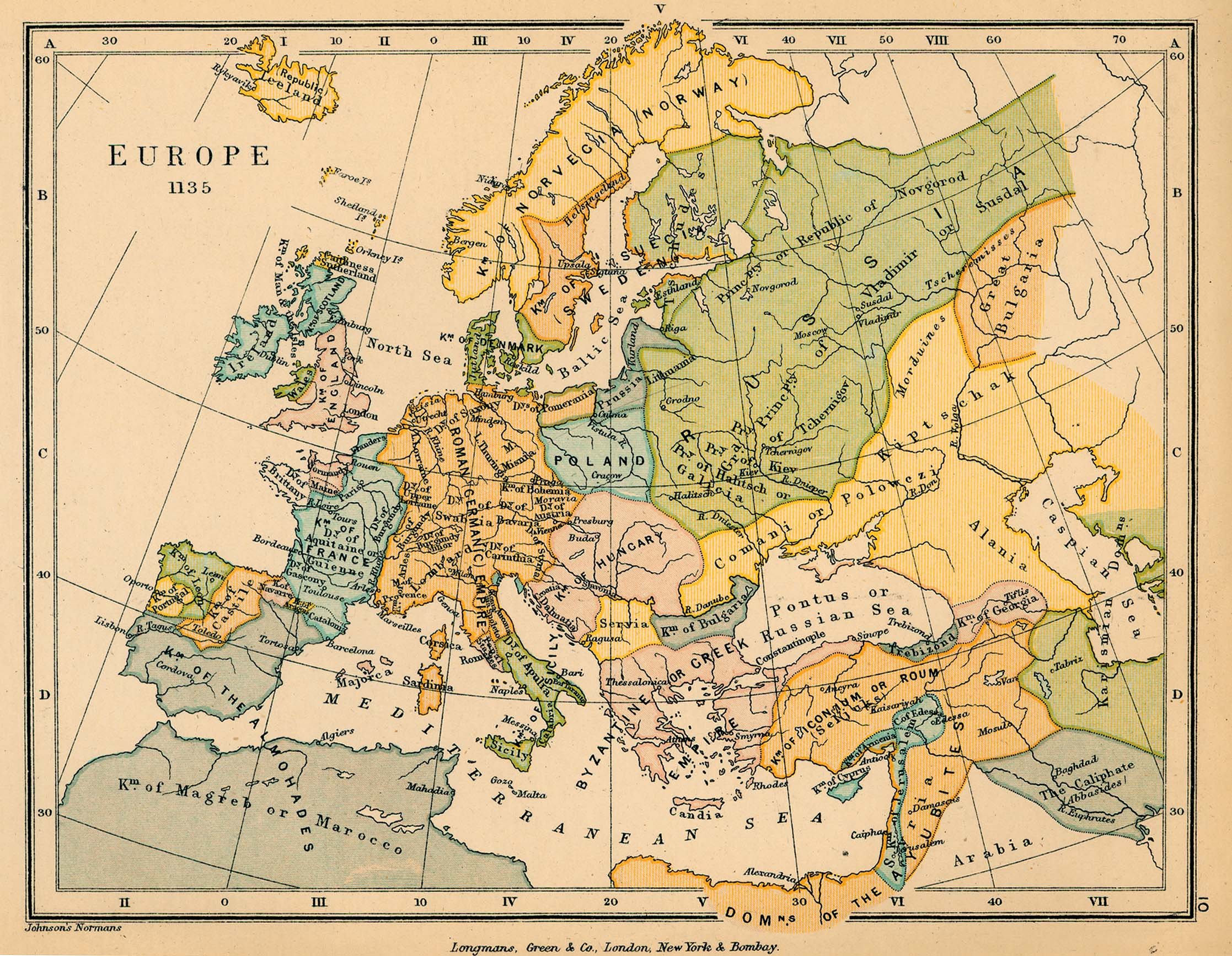 Map of Europe 1135