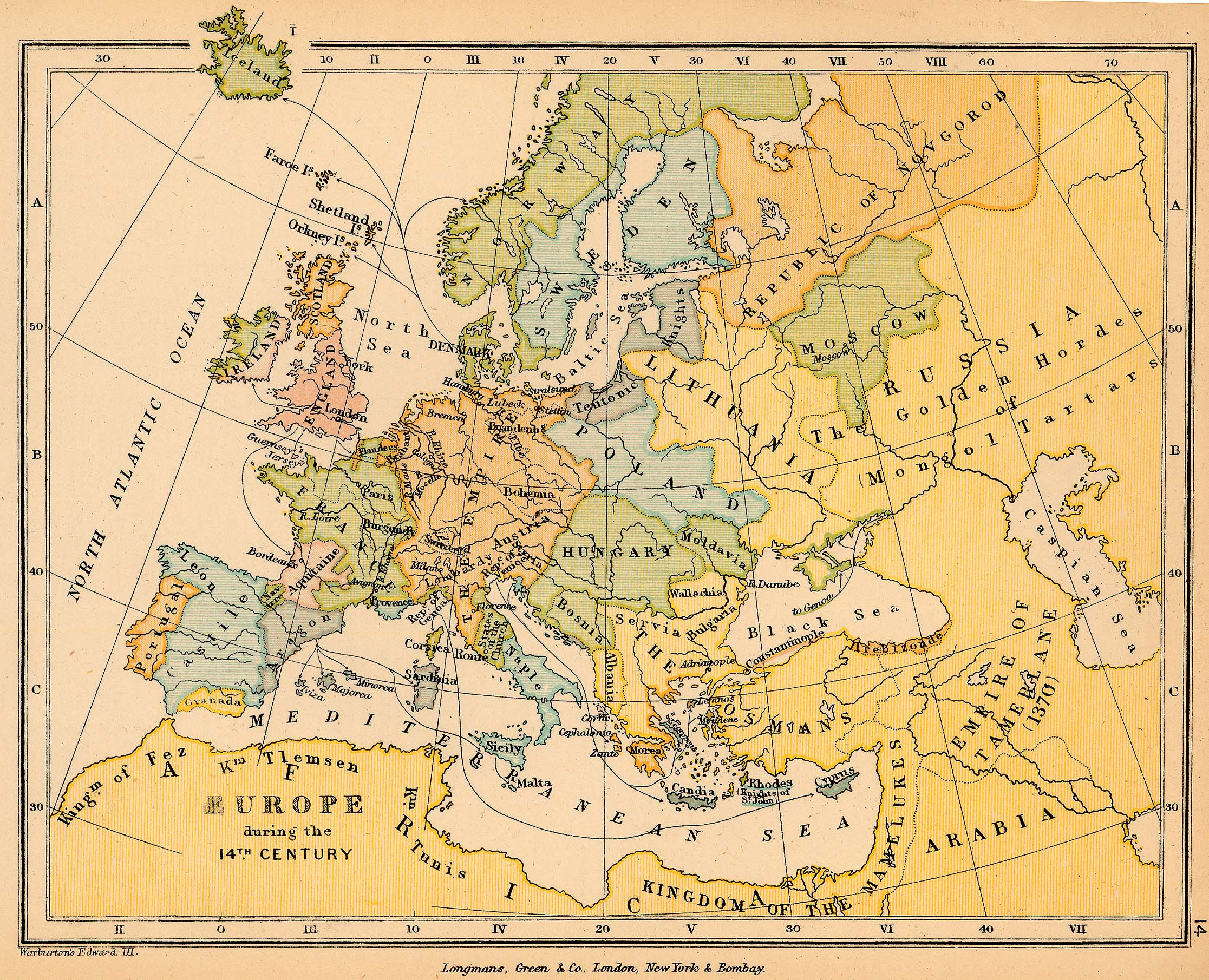 Map of Europe during the 14th Century