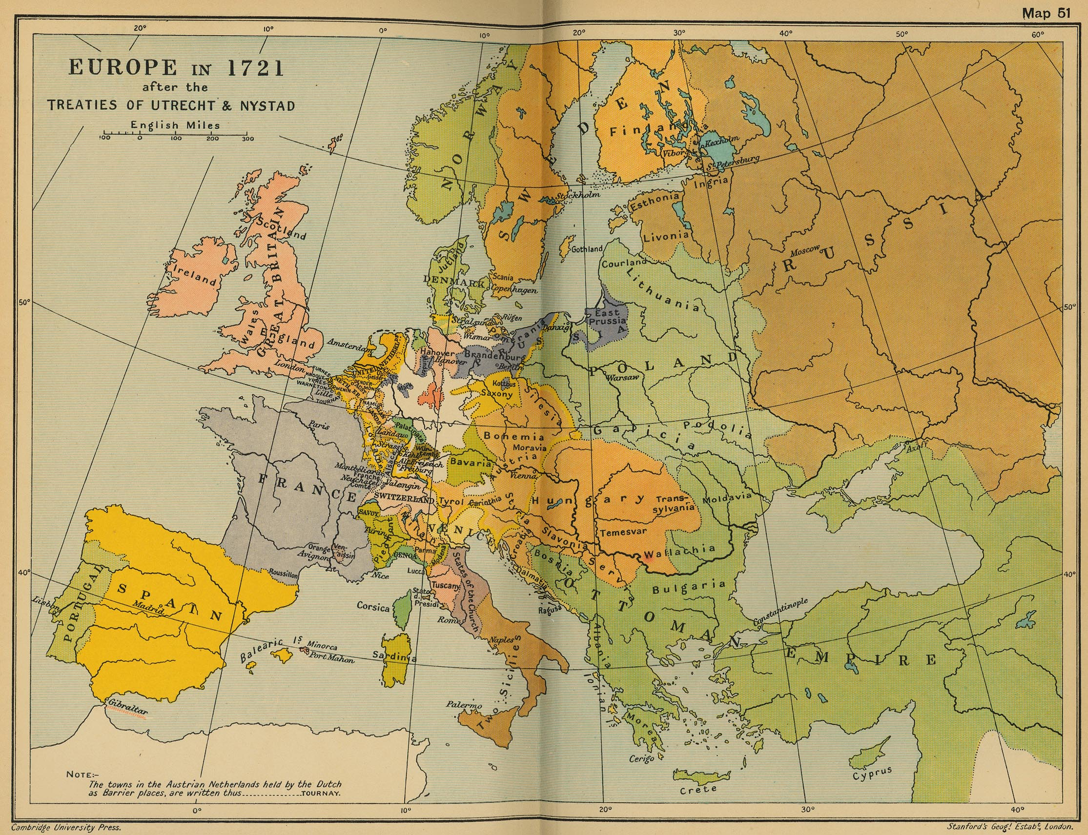 Map of Europe in 1721