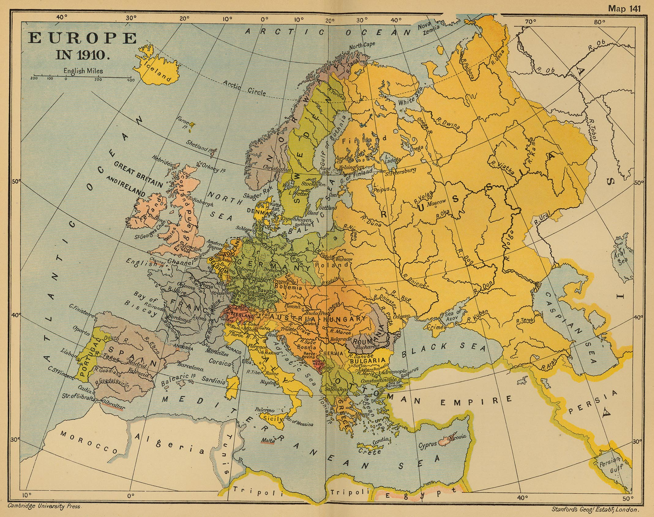 Map of Europe 1910