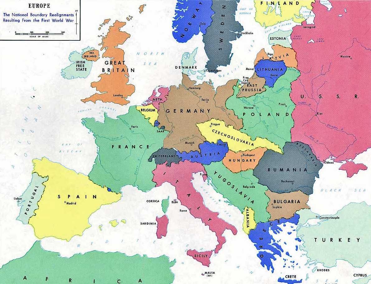 Map of Europe in 1919: the national boundary realignments resulting from the First World War