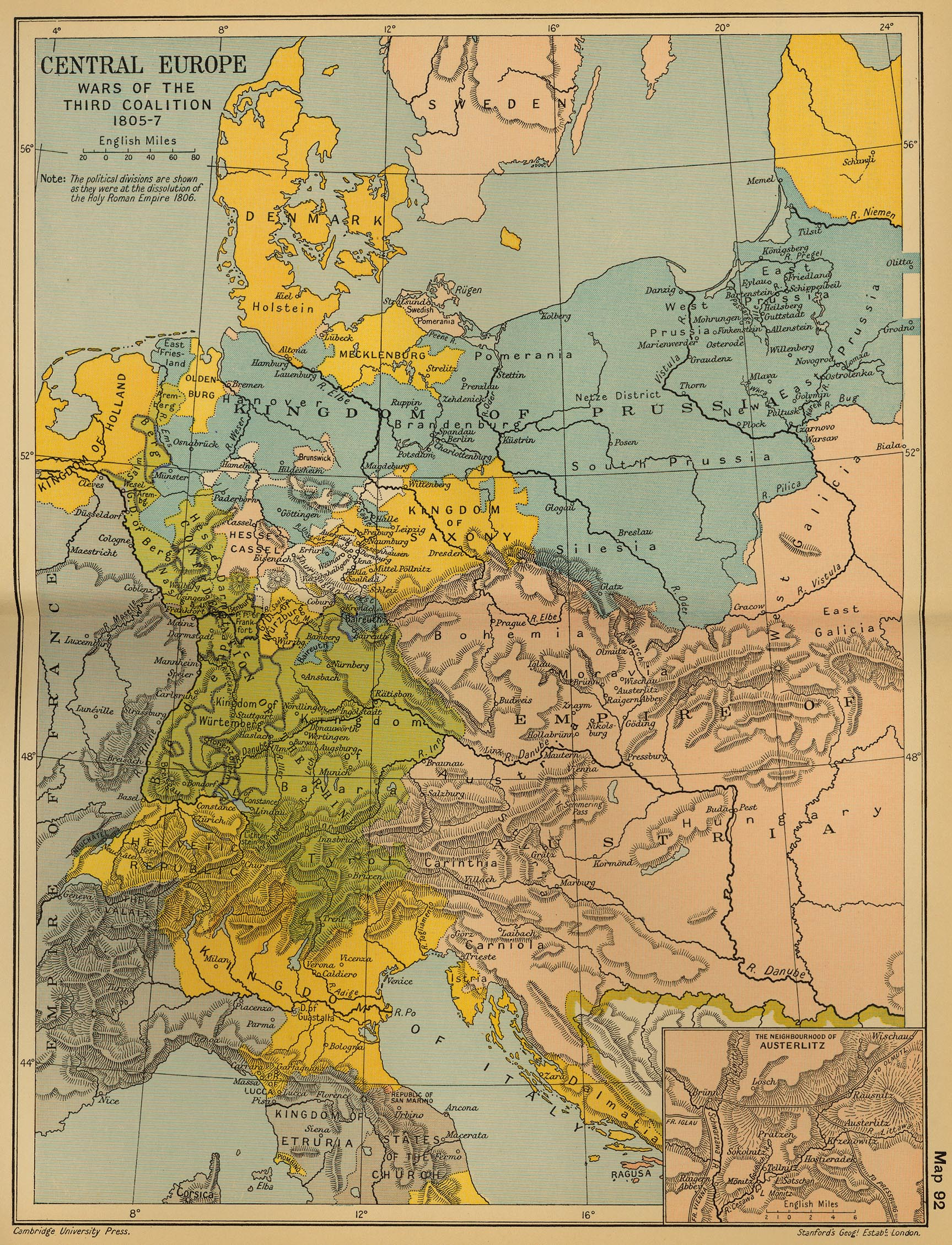 Map of Central Europe 1805-1807