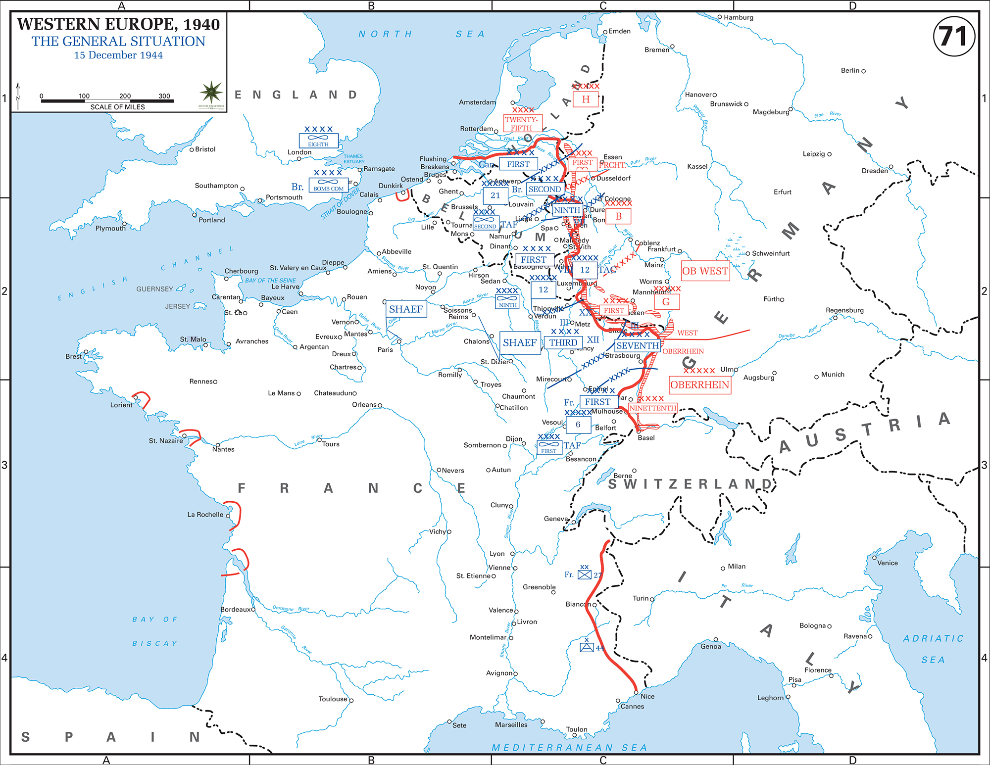 Map of World War II: Western Europe, The General Situation on December 15, 1944.