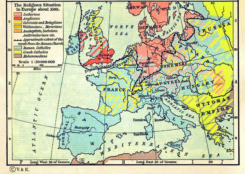 Map of Europe in 1560: Religious Situation