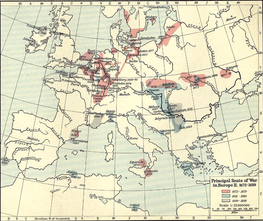 Map of the Wars in Europe 1672-1699