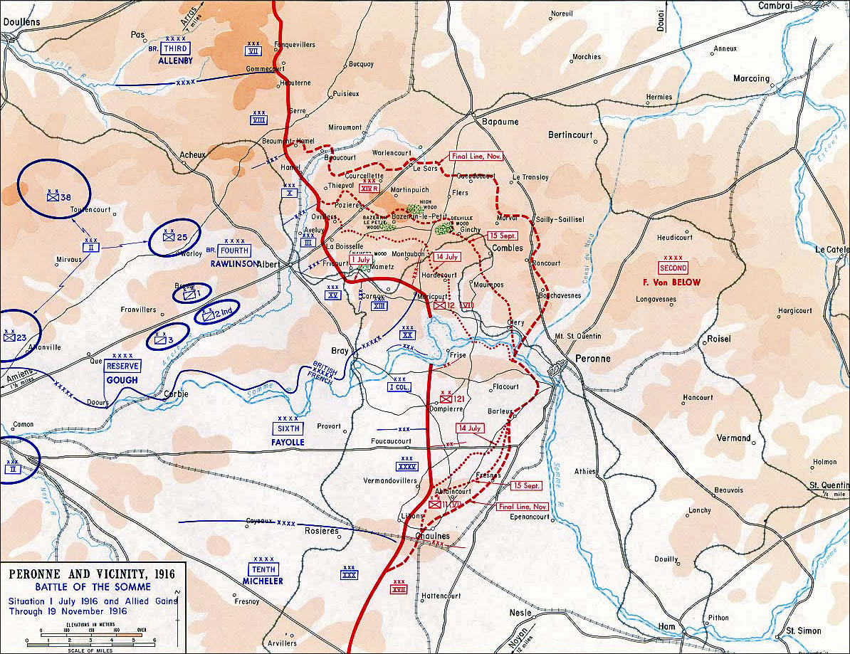 Map of the First Battle of the Somme - Jul 1-Nov 13, 1916