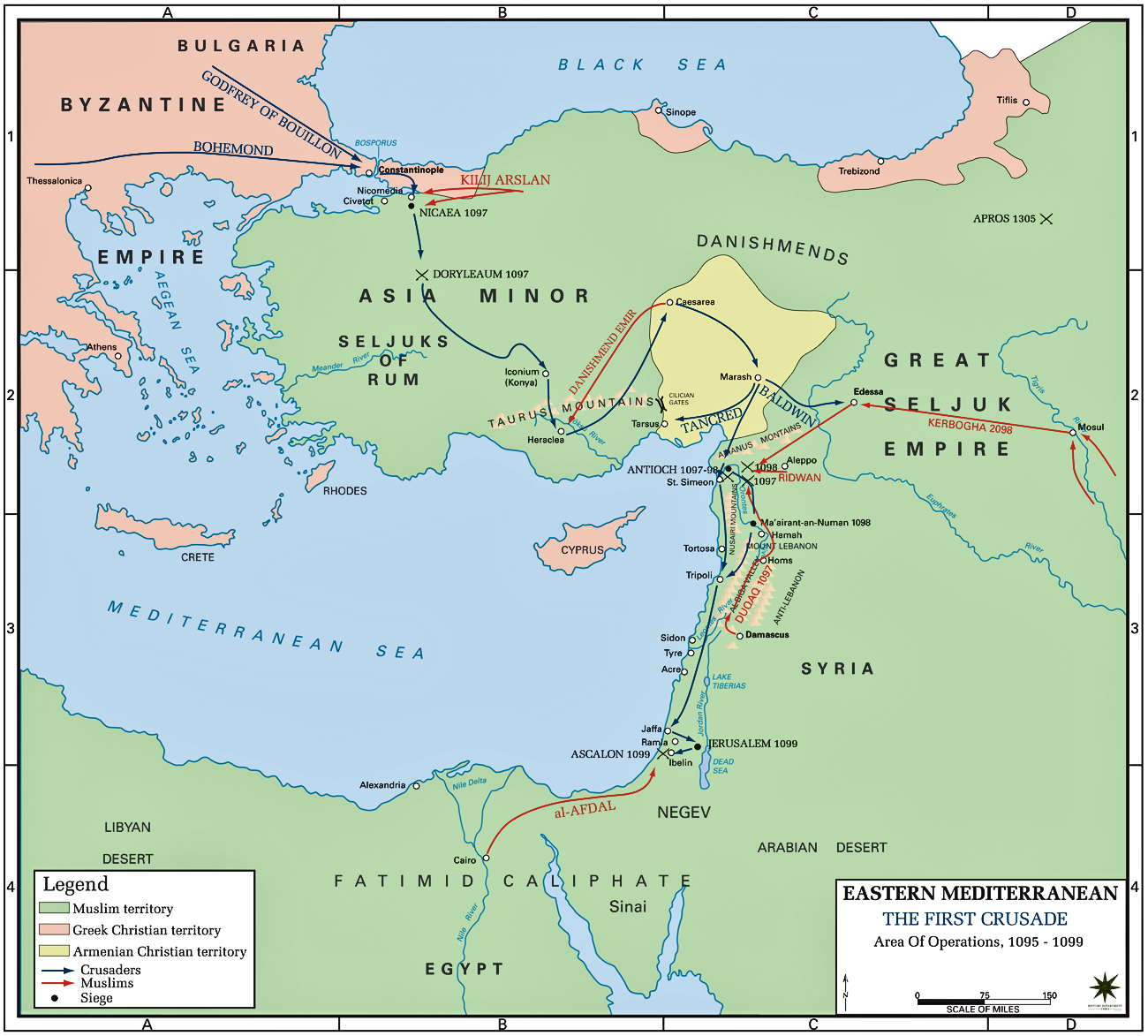 Map of the First Crusade 1095-1099