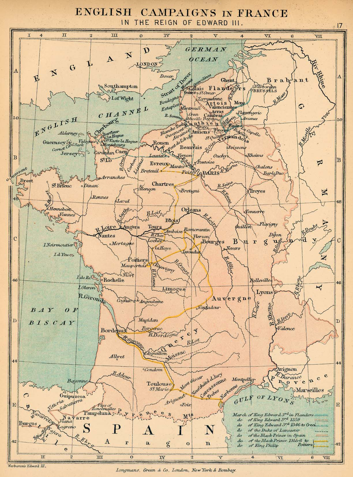 Map of the English Campaigns in France in the Reign of Edward III 1327-1377