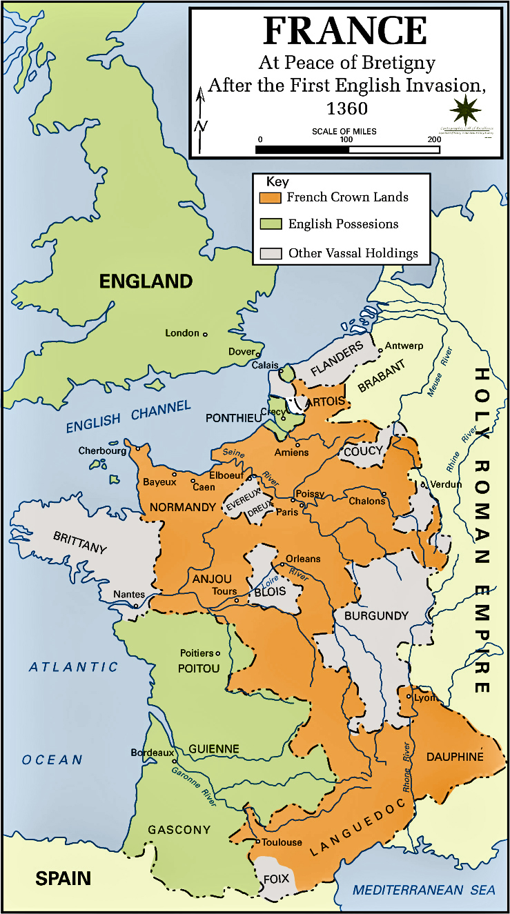 Map of France in 1360