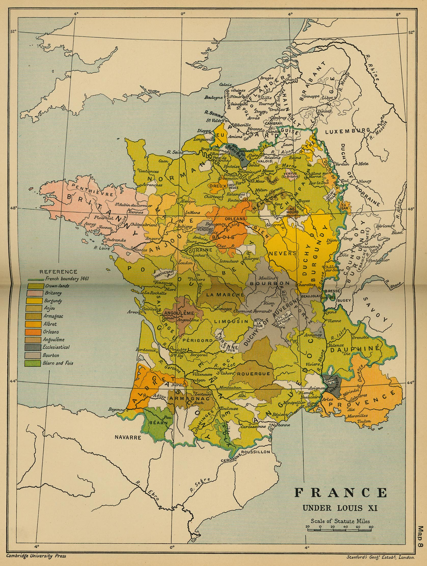 Map of France Under Louis XI, 1461 - 1483