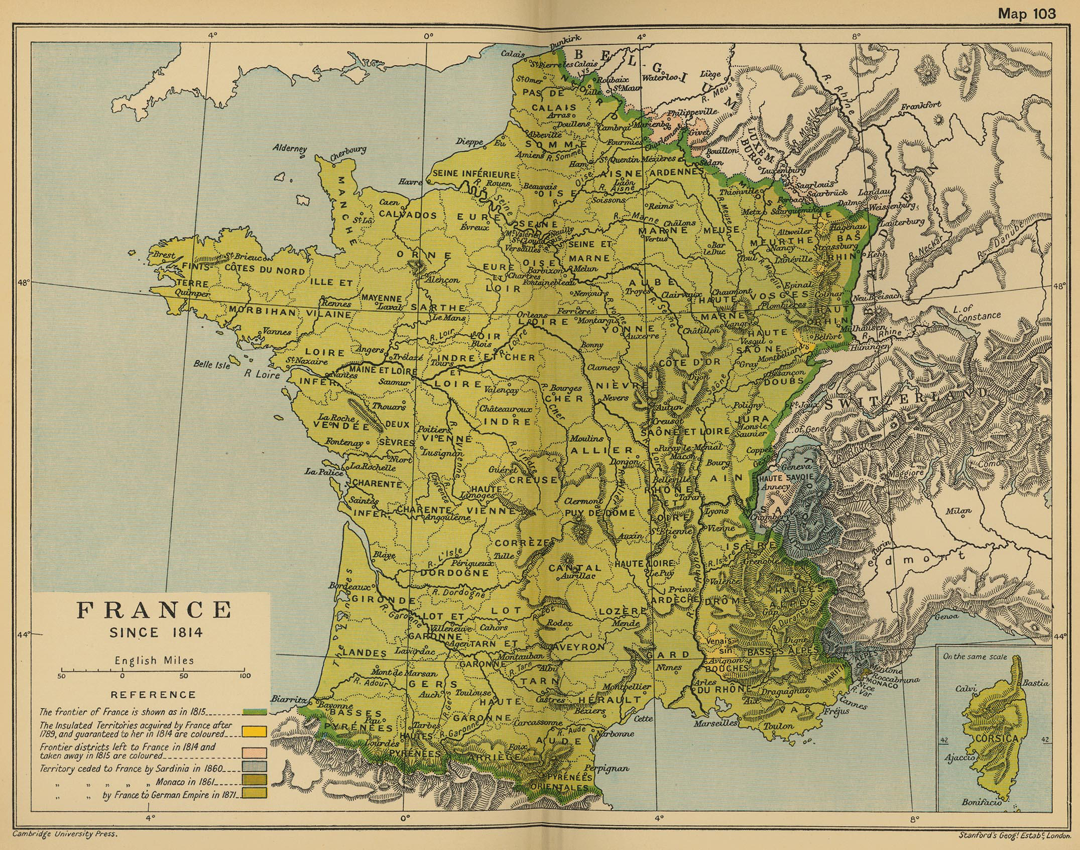 Map of France since 1814